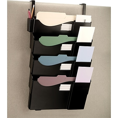 OIC Grand Central Cubicle File Pockets, Black, Set (21728)