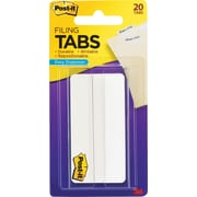"Post-it® Durable Filing Tabs, 3"", White, 20/Pack"