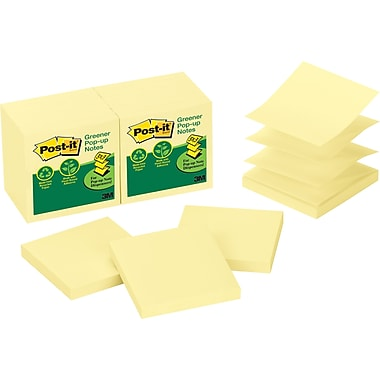 Post-it® Recycled Greener Pop-Up Notes, 3'' x 3'', Canary Yellow, 12/Pack