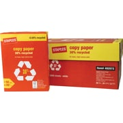 "Staples® 30% Recycled Copy Paper, 20 Lb., 92 Bright, 8 1/2"" x 11"", White, 10-Ream Case (112350/461757)"