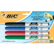 BIC® Great Erase® Dry-Erase Markers with Grip Zone, Assorted, Fine Tip, 4/Pack