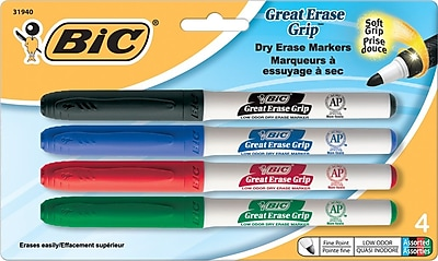 BIC Great Erase Grip Dry Erase Marker with Grip Zone, Fine Point Tip, Assorted Colors, 4/Pack (31940/GDEP41AST)