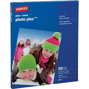 Staples® - Papier Photo Plus, 8 1/2 po x 11 po, paq./50