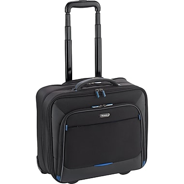 Solo Active Rolling Overnighter Laptop Case, Black-Blue Accents (TCC902-4/20)