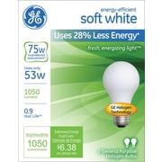 GE Halogen Bulb, 53 Watt, 1050 Lumen, A19, Soft White, 2/Pk