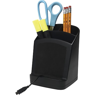 Staples® Pencil Cup with Cell Phone Ledge, Black