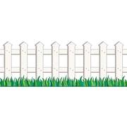 "Scholastic 9780439654913 8.5"" x 12' Straight Picket Fence Jumbo Border, White"