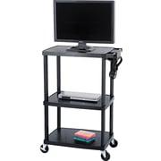 """Safco® 55 1/2""""H x 39 1/2""""W x 24""""D Mobile AV Adjustable TV Cart, Black"""