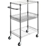 "Alera® 26""D Wire Shelving Three-Tier Rolling Cart, Black Anthracite"