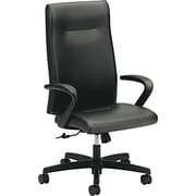 HON Ignition Executive High-Back Chair, Center-Tilt, Fixed Arms, Black Leather NEXT2018 NEXT2Day