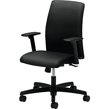 HON Ignition Fabric Computer and Desk Office Chair, Adjustable Arms, Black (L1AHUNT10T.COM)