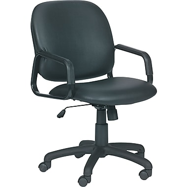 Safco Cava Urth Faux Leather Computer and Desk Office Chair, Fixed Arms, Black (7045BV)