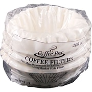 Coffee Pro® Basket Shape Paper Coffee Filter for Drip Coffee Makers, 10 - 12 Cup, White, 200/Pack