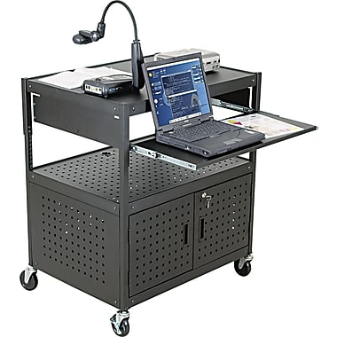BALT® Steel Height-Adjustable FDB AV Cart, Black