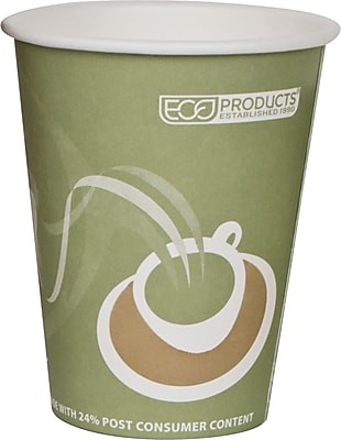 Eco-Products® Evolution World™ Hot Drink Cups, Sea Green, 12oz., 50/Pack