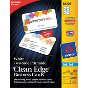 Clean Edge Inkjet Business Cards, White, Round Edge, 2 x 3 1/2, 160 cards/PK