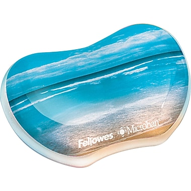 Fellowes ® Antimicrobial Photo Gel Wrist Rest, Sandy Beach, 3 7/16