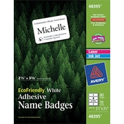 """Avery® 48395 White Name Badge Labels, 2-1/3 x 3-3/8"""", 80/Pack"""