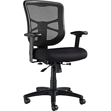 Alera EL42BME10B Elusion Fabric Mid-Back Executive Chair with Adjustable Arms, Black
