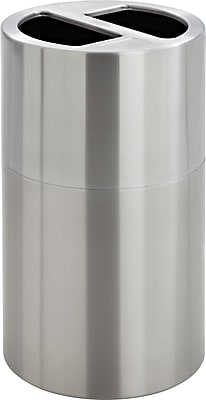 Safco® Dual Recycling Receptacle, 30 Gallon, Stainless Steel, 32 1/2