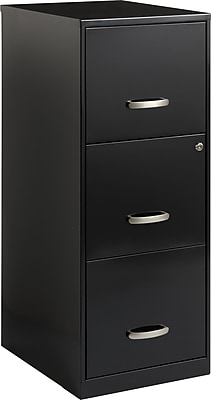 Office Designs 3 Drawer Vertical File Cabinet, Black, Letter, 18''D (17438)