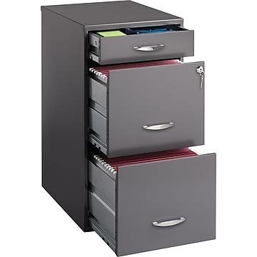 "Office Designs 3-Drawer Vertical File Cabinet, Letter, Charcoal, 18""D (18606)"
