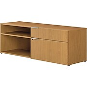 """HON VOI® Low Credenza with Left Drawers, 1 Box/1 Lateral, Harvest, 21.43""""H x 60""""W x 20""""D"""