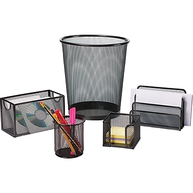 Staples Black Wire Mesh Desk Collection 5-Piece Accessory Kit