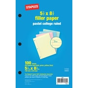 "Staples Pastel Filler Paper, 5-1/2"" x 8-1/2"", 100/Pack (22641)"