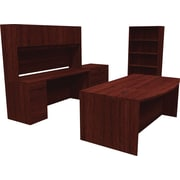 DNP DNU DOD BL Series Deluxe Workstation/Office Desk, Mahogany