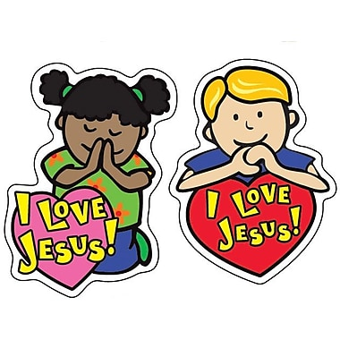 I Love Jesus Shape Stickers, 90/Pk