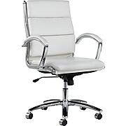 Neratoli, Mid-Back Swivel/Tilt Chair, White Faux Leather, Chrome Frame