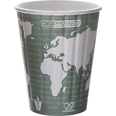 Eco-Products® World Art™ Insulated Compostable Paperboard/PLA Plastic Hot Cup, 12 oz., 600/Carton