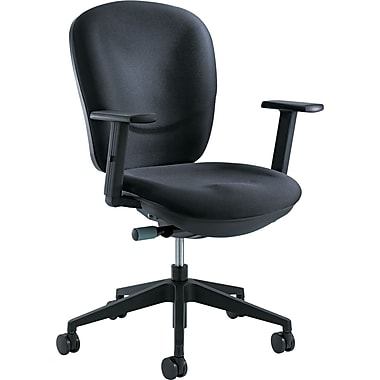 Safco Rae Fabric Computer and Desk Office Chair, Adjustable Arms, Black (7205BL)