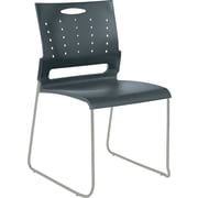 Alera Continental Plastic Perforated Back Stacking Chair, Charcoal Gray