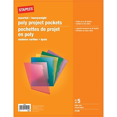 Staples® Poly Project Pockets, Letter Size, Assorted Colours, 5/Pack