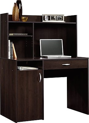 Sauder Computer Desk with Hutch Cinnamon Cherry 413084 Staples