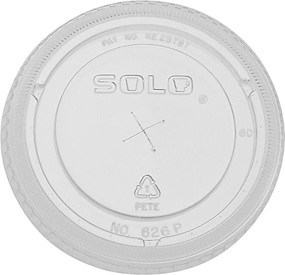 SOLO® Straw Slot Plastic Lids, 16 oz.,Clear, 1,000/Case (626TS-0090)