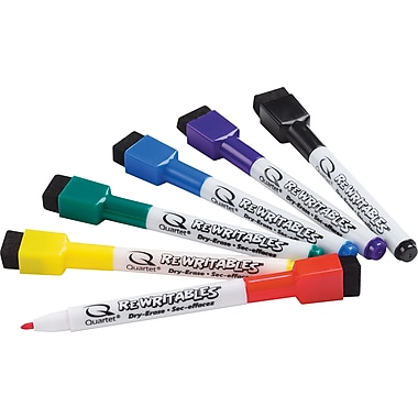 Quartet ReWritables Fine Point Magnetic Mini Dry-Erase Marker, Assorted, 6/Pack