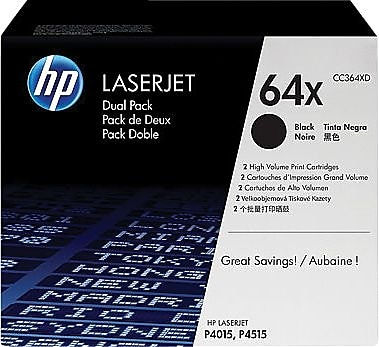 HP 64X (CC364XD) Black High Yield Original LaserJet Toner Cartridges, Multi-pack (2 cart per pack)