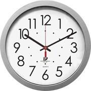 """Quartz Flat Rim Clock, 13-1/4"""", Silver"""