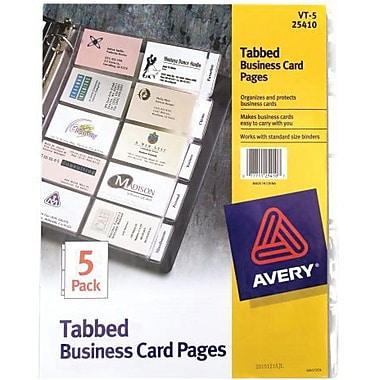 Avery® Tabbed Business Card Page, Clear, 3 1/2