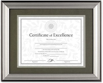 Charcoal/Nickel-Tone Document Frame, Desk/Wall, 11 x 14, Matted to 8-1/2 x 11