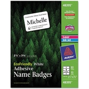 Avery 48395 Name Badge Labels, White, 80/Pack