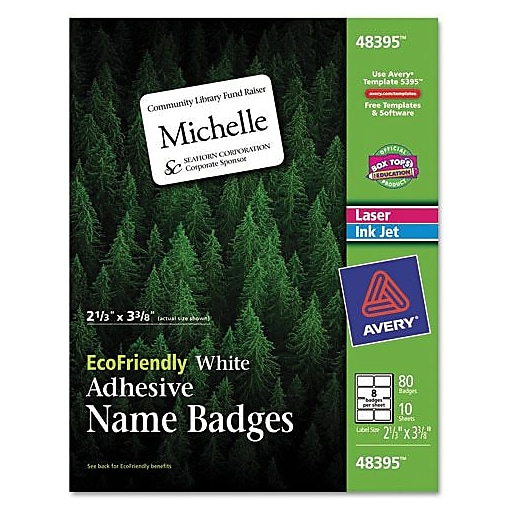 avery 48395 name badge labels white 80 pack staples