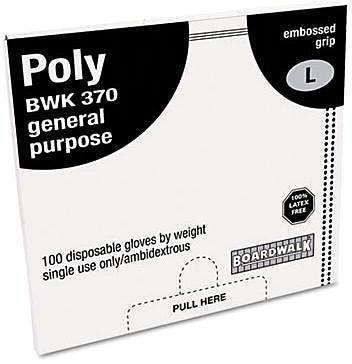 Boardwalk Polyethylene Disposable Food Handling Gloves, Large, Clear, 1000/Carton
