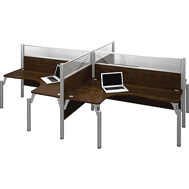 Bestar Pro-Biz Office System Quad Four L-Desk Workstation, Full Wall, Chocolate