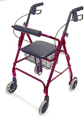 DMI® Ultra Lightweight Aluminum Rollator with Straight Backrest, Burgundy