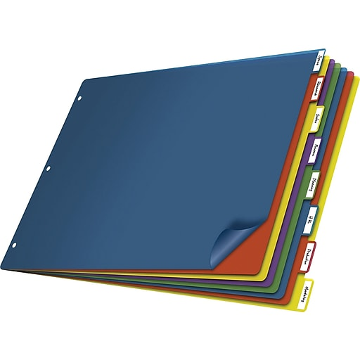 cardinal 11 x 17 tabloid poly index dividers 8 tab staples