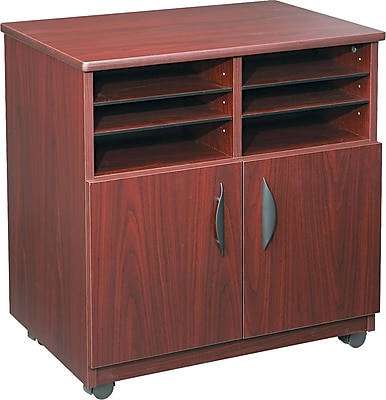 Safco® Mobile Laminate Machine Stand Furniture Grade, Mahogany, 30 1/2